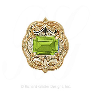 GS255 PD - 14 Karat Gold Peridot Slide