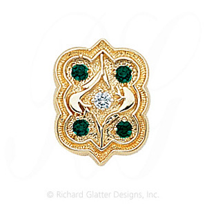 GS263 D/E - 14 Karat Gold Slide with Diamond center and Emerald accents