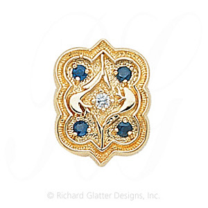 GS263 D/S - 14 Karat Gold Slide with Diamond center and Sapphire accents