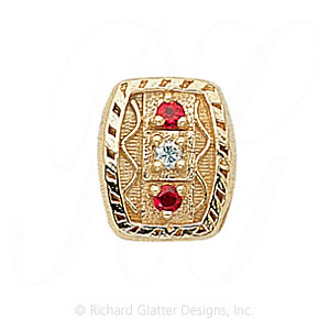 GS264 D/R - 14 Karat Gold Slide with Diamond center and Ruby accents