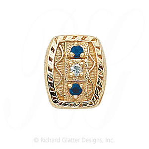 GS264 D/S - 14 Karat Gold Slide with Diamond center and Sapphire accents