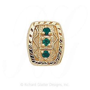 GS264 E - 14 Karat Gold Emerald Slide