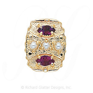GS268 PL/AMY - 14 Karat Gold Slide with Pearl center and Amethyst accents