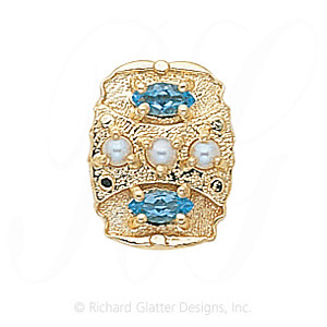 GS268 PL/BT - 14 Karat Gold Slide with Pearl center and Blue Topaz accents
