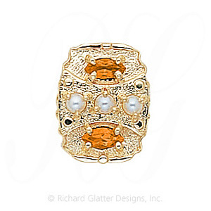 GS268 PL/CIT - 14 Karat Gold Slide with Pearl center and Citrine accents