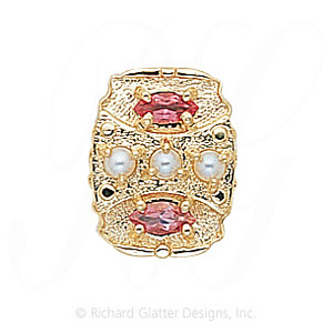 GS268 PL/PT - 14 Karat Gold Slide with Pearl center and Pink Tourmaline accents