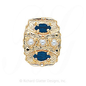 GS268 PL/S - 14 Karat Gold Slide with Pearl center and Sapphire accents