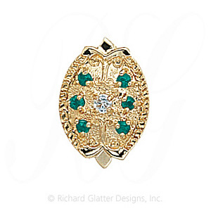 GS314 D/E - 14 Karat Gold Slide with Diamond center and Emerald accents
