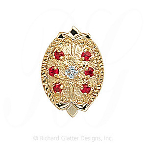 GS314 D/R - 14 Karat Gold Slide with Diamond center and Ruby accents
