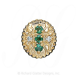 GS315 E/D - 14 Karat Gold Slide with Emerald center and Diamond accents