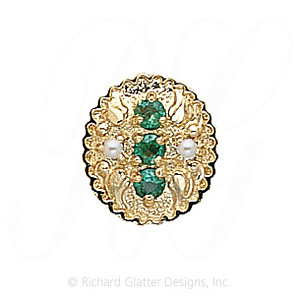 GS315 E/PL - 14 Karat Gold Slide with Emerald center and Pearl accents