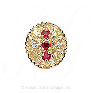 GS315 R/D - 14 Karat Gold Slide with Ruby center and Diamond accents