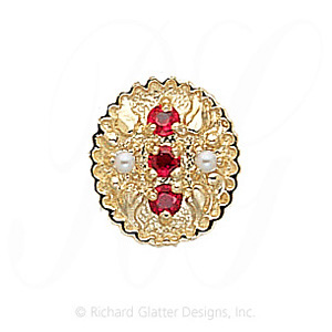 GS315 R/PL - 14 Karat Gold Slide with Ruby center and Pearl accents