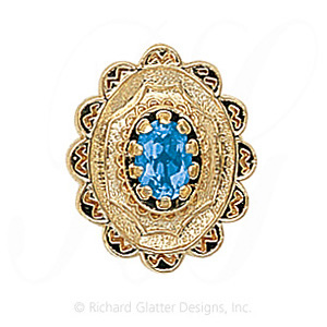 GS317 BT - 14 Karat Gold Blue Topaz Slide