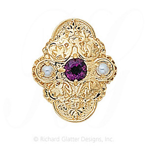 GS341 AMY/PL - 14 Karat Gold Slide with Amethyst center and Pearl accents