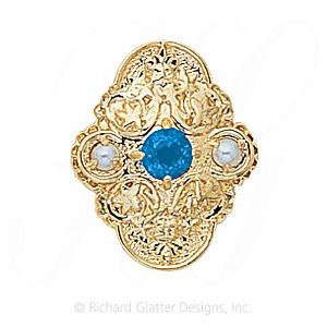 GS341 BT/PL - 14 Karat Gold Slide with Blue Topaz center and Pearl accents