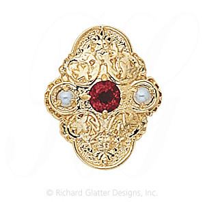 GS341 PT/PL - 14 Karat Gold Slide with Pink Tourmaline center and Pearl accents