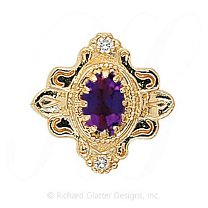 GS345 AMY/D - 14 Karat Gold Slide with Amethyst center and Diamond accents