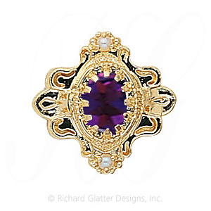 GS345 AMY/PL - 14 Karat Gold Slide with Amethyst center and Pearl accents