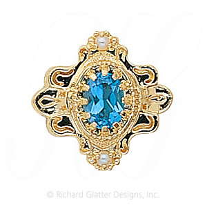 GS345 BT/PL - 14 Karat Gold Slide with Blue Topaz center and Pearl accents
