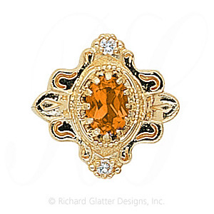 GS345 CIT/D - 14 Karat Gold Slide with Citrine center and Diamond accents