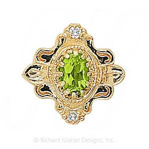 GS345 PD/D - 14 Karat Gold Slide with Peridot center and Diamond accents