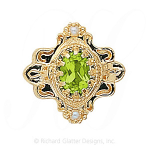 GS345 PD/PL - 14 Karat Gold Slide with Peridot center and Pearl accents