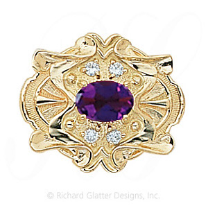 GS404 AMY/D - 14 Karat Gold Slide with Amethyst center and Diamond accents