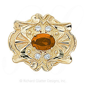 GS404 CIT/D - 14 Karat Gold Slide with Citrine center and Diamond accents