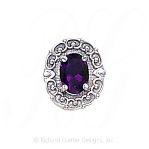 GS444 AMY - 14 Karat Gold Amethyst Slide