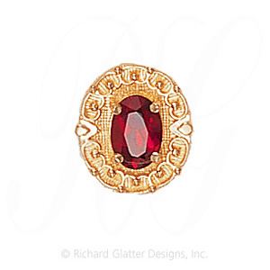 GS444 G - 14 Karat Gold Garnet Slide