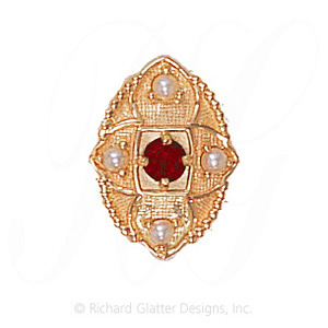 GS452 G/PL - 14 Karat Gold Slide with Garnet center and Pearl accents