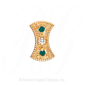 GS453 D/E - 14 Karat Gold Slide with Diamond center and Emerald accents