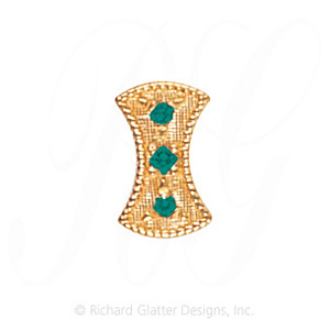 GS453 E - 14 Karat Gold Emerald Slide