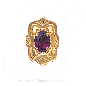 GS459 AMY - 14 Karat Gold Amethyst Slide