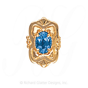 GS459 BT - 14 Karat Gold Blue Topaz Slide