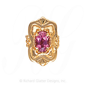 GS459 PT - 14 Karat Gold Pink Tourmaline Slide