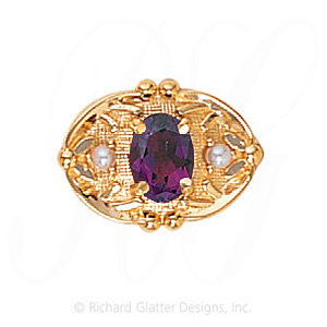 GS463 AMY/PL - 14 Karat Gold Slide with Amethyst center and Pearl accents