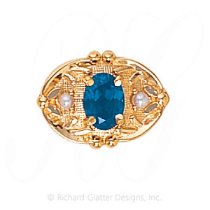 GS463 BT/PL - 14 Karat Gold Slide with Blue Topaz center and Pearl accents