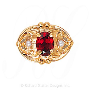 GS463 G/PL - 14 Karat Gold Slide with Garnet center and Pearl accents
