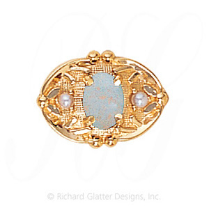 GS463 OP/PL - 14 Karat Gold Slide with Opal center and Pearl accents