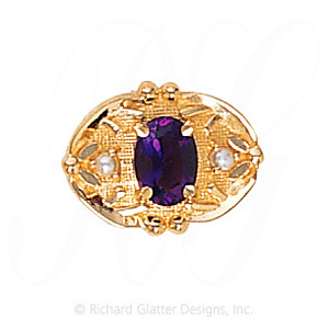 GS463 RG/PL - 14 Karat Gold Slide with Rhodolite Garnet center and Pearl accents