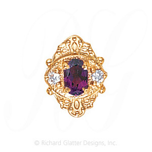 GS467 AMY/D - 14 Karat Gold Slide with Amethyst center and Diamond accents