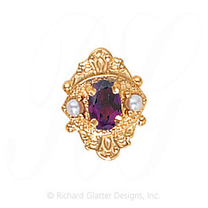 GS467 AMY/PL - 14 Karat Gold Slide with Amethyst center and Pearl accents