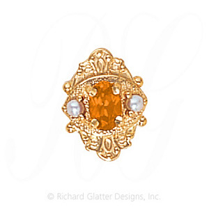 GS467 CIT/PL - 14 Karat Gold Slide with Citrine center and Pearl accents