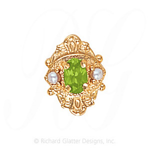 GS467 PD/PL - 14 Karat Gold Slide with Peridot center and Pearl accents