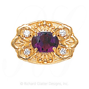 GS487 AMY/D - 14 Karat Gold Slide with Amethyst center and Diamond accents