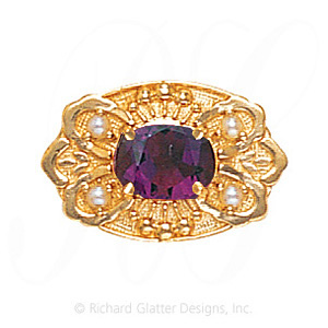 GS487 AMY/PL - 14 Karat Gold Slide with Amethyst center and Pearl accents