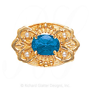 GS487 BT/PL - 14 Karat Gold Slide with Blue Topaz center and Pearl accents