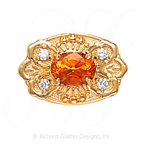 GS487 CIT/D - 14 Karat Gold Slide with Citrine center and Diamond accents
